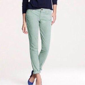 J. Crew Toothpick Skinny Mint Aqua Corduroy Pants